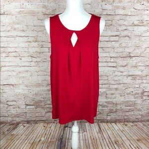 Alex Marie, Red Sleeveless Keyhole Front Top🆕 XL